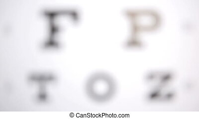 Focus on eye test letters for opticians
