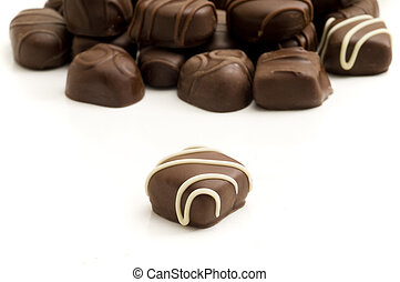 Focus on Foreground Chocolate - Selective focus on the...