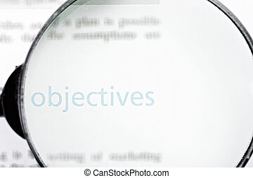 Focus on objectives - Objectives word printed on page seen ...