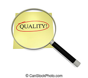 Focus on Quality - Image of a magnifying glass focusing on...
