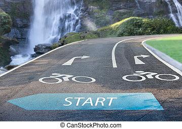 Road sign bicycle lane