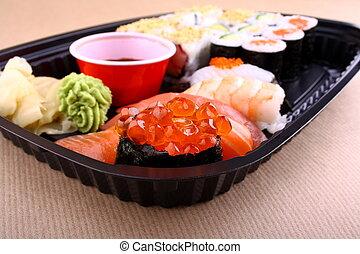 Focus on special ikura sushi menu - The focus of salmon ...