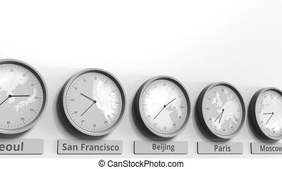 Focus on the clock showing Beijing, China time. Conceptual...