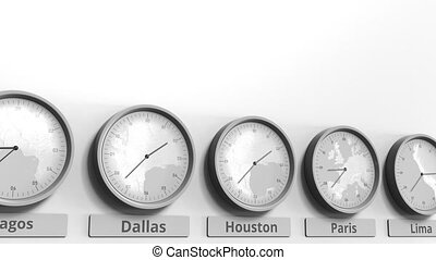 Different time zones clocks, 3D
