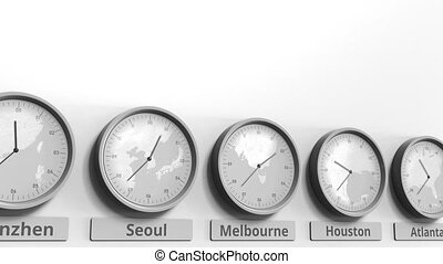 Focus on the clock showing Melbourne, Australia time....