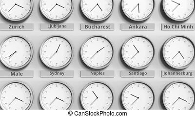 Focus on the clock showing Naples, Italy time. 3D animation...