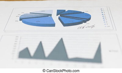 Focus on the foreground and background of the chart and diagram.