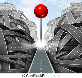 Focus on the goal as a business symbol of a successful journey based on a strategic path and clear financial planning on the destination represented by a red push pin on a straight road away from confusion and chaos.