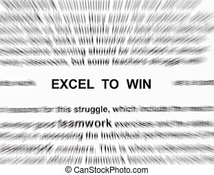 focus on the word excel to win