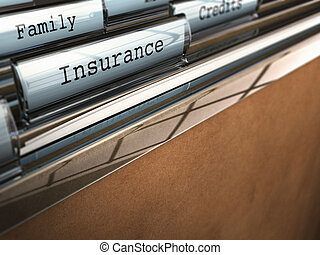 focus on the word insurance written onto a folder with the word family on the background, blur effect and room for text at the bottom