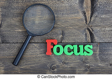 Focus on wooden table