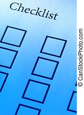 Checklist - focus point on the Checklist(word),special blue...