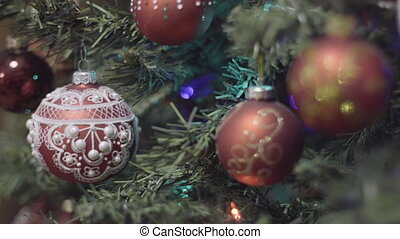 Focus pulling on christmas and New Year Decoration. Abstract...