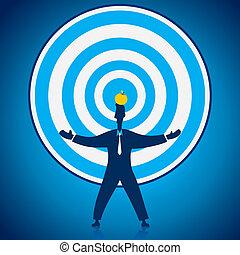 focus the businessmen apple in head