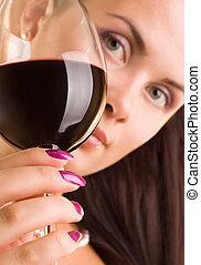 focus), wino, (glass, młoda kobieta, czerwony, piękny, szkło