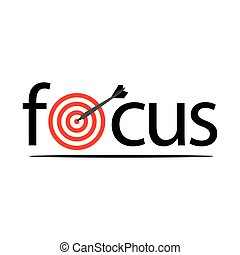 Focus with targets and arrows. Flat vector illustration on white background.