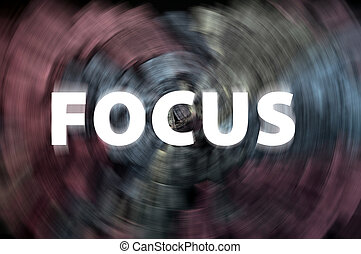 Focus word with motion rays on a chalkboard background -...