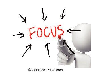 focus word written by 3d man over transparent board