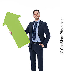 Focus young male holding green sign of arrow