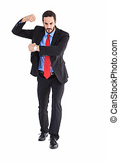 Focused businessman holding something with his hands