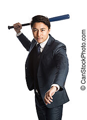 Focused businessman with a baseball bat