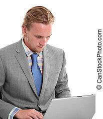 Focused businessman with laptop
