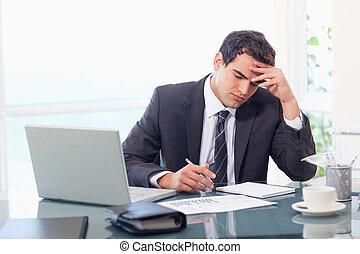Focused businessman working