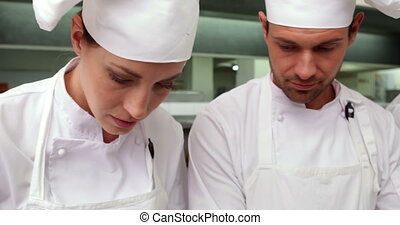 Focused chefs talking in a row in a commercial kitchen