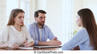 Focused hr team finishing job interview with vacancy ...
