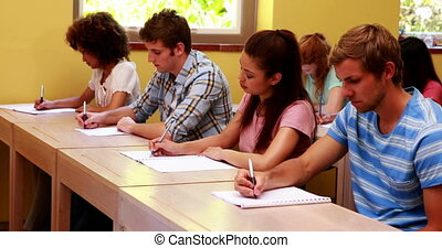 Focused students sitting in a line writing in classroom at...