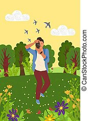 Man photographing nature, green trees and grass, flowers, flying birds. Photographer standing with camera, shooting plant, focus lens, forest vector