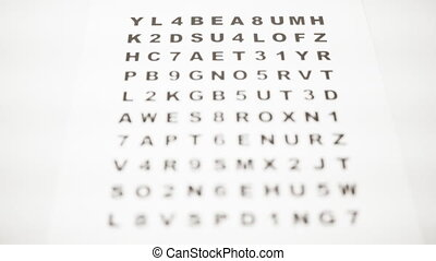 Focusing different letters for optic inspection - Closeup of...
