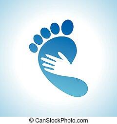 fod, ikon, kreative, omsorg