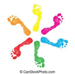 fod trykker, farverig