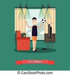fodbold, begreb, vektor, illustration, ind, lejlighed, firmanavnet