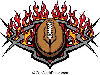 fodbold bold, skabelon, hos, flammer