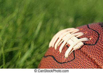 fodbold, ind, den, græs