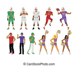 fodbold, piger, spillere, vogner, cheerleading