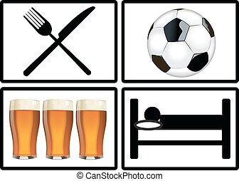 fodbold, søvn, æd, drink