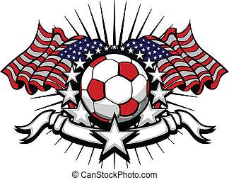 fodbold, soccer, vektor, skabelon