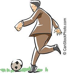 fodbold, spille, branche mand