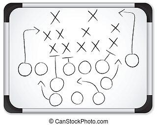 fodbold, whiteboard, -, strategi, boldspil, vektor, teamwork, plan