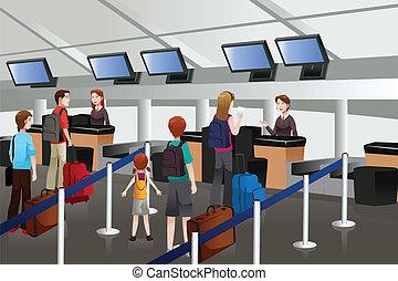 fodera, aeroporto, contatore, check-in, su