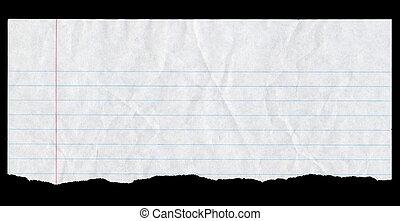 foderare, cima, strappato, isolato, carta, bianco, black., pagina