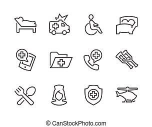 foderare, medico, trasporto, icone