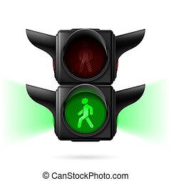 fodgænger, trafik lys