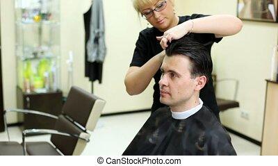 fodrász, darabol, haj, fordíts, ember, noha, hosszú szőr,...