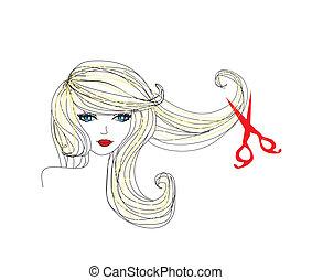 fodrász, gyártás, hajvágás, -ban, szépség salon