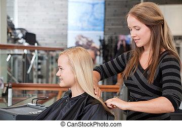 fodrász, tisztítás, vásárlók, haj