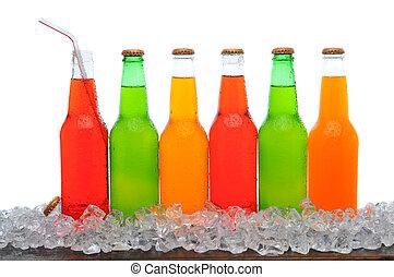 fodra, av, soda, flaskor